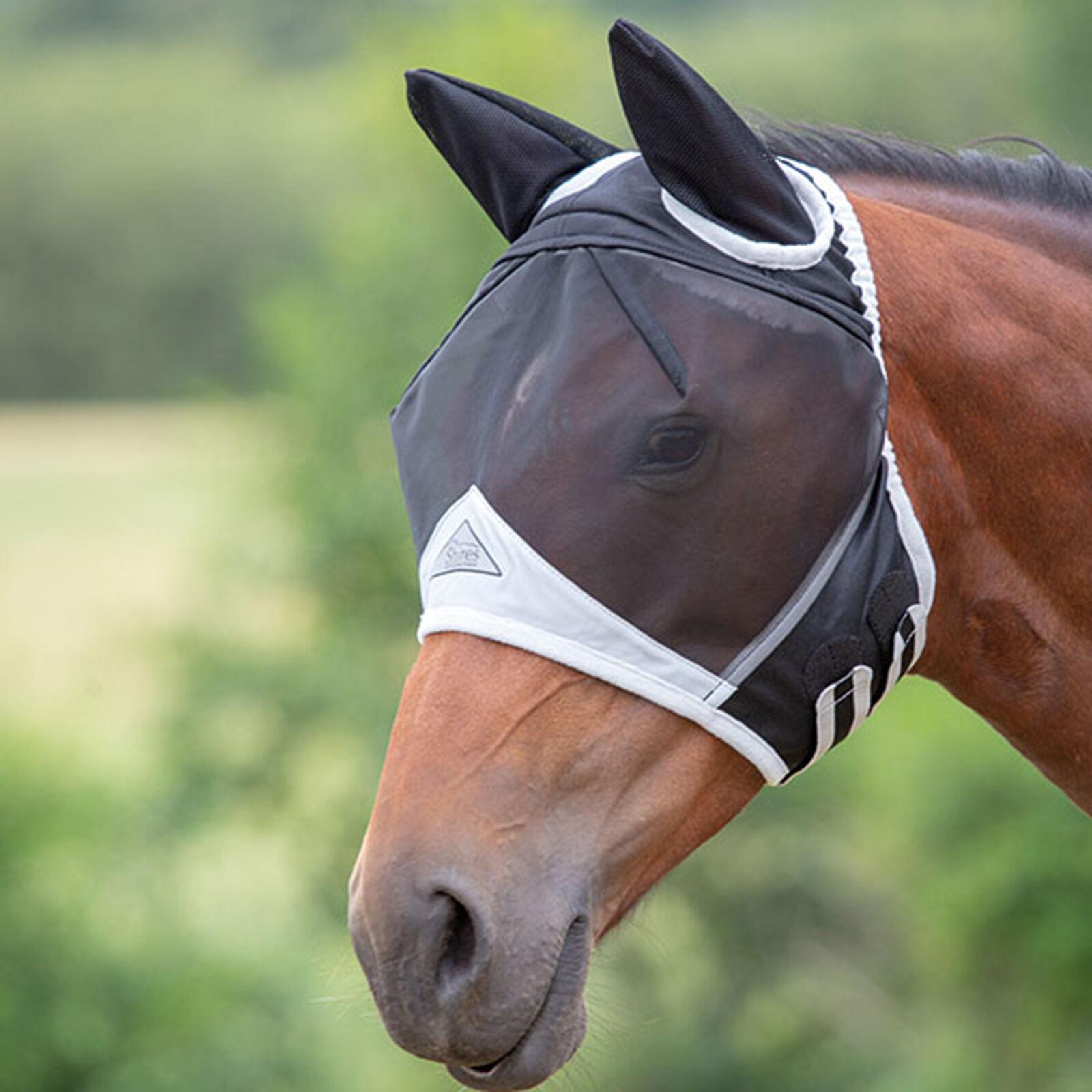 Taille Small Poney Shires Masque anti-mouches avec oreilles et nez noir//Orange
